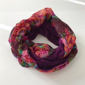 Reversible infinity scarf wrap floral